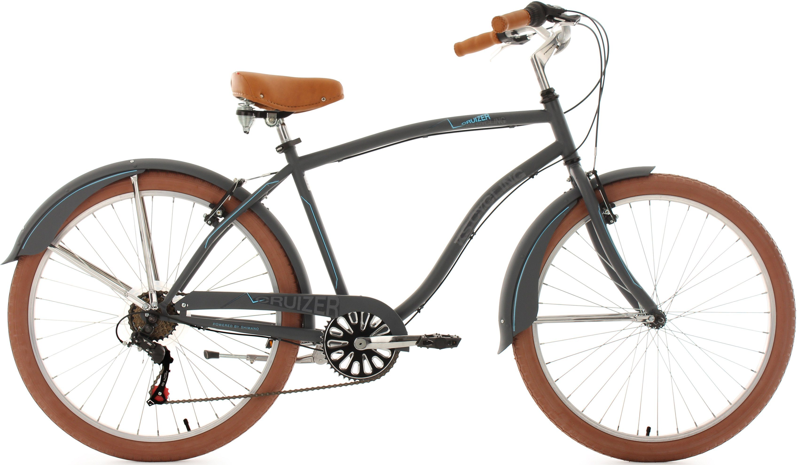 KS Cycling Beachcruiser Herren, 26 Zoll, matt-anthrazit, 6 Gang-Kettenschaltung, »Cruizer«